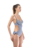 Stripped Cut Out One Piece Swimsuit