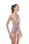 Halter Print High Waist Swimwear Set