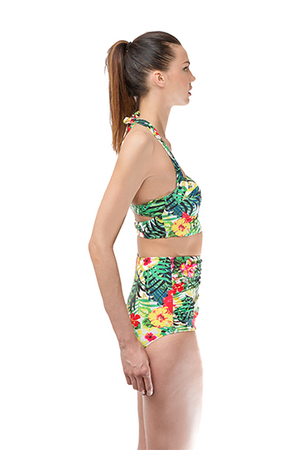 Green Flowers High Wasted with Bustier Set