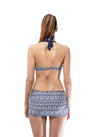 Vintage Blue Print Skirt Bikini Set