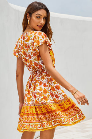 Orange Deep V High Waist Tie Short Ruffle Sleeve Mini Dress