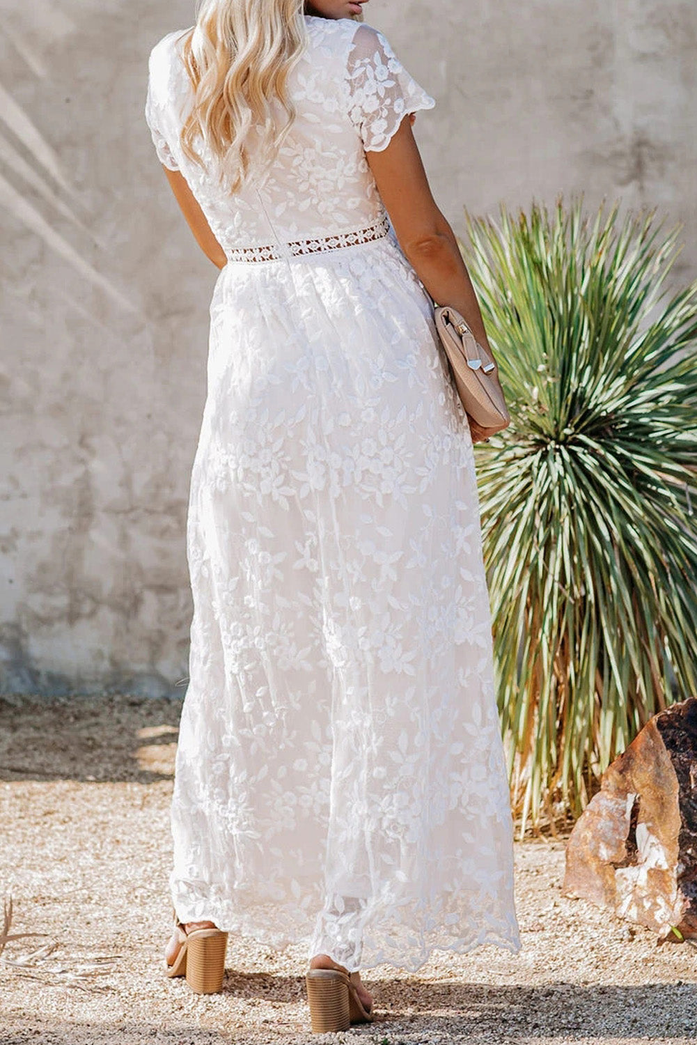 White V Neck Lace Maxi Dress