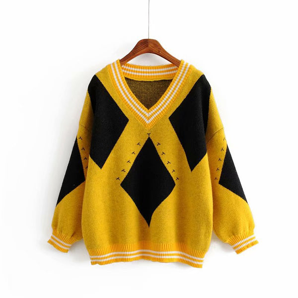 Colour Block V neck Sweater