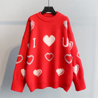 Sweater Hearts Loose Sleeves