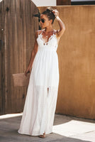 White Summer Hollow Out Maxi Dress