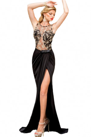 Black Gold Lace Evening Prom Gown