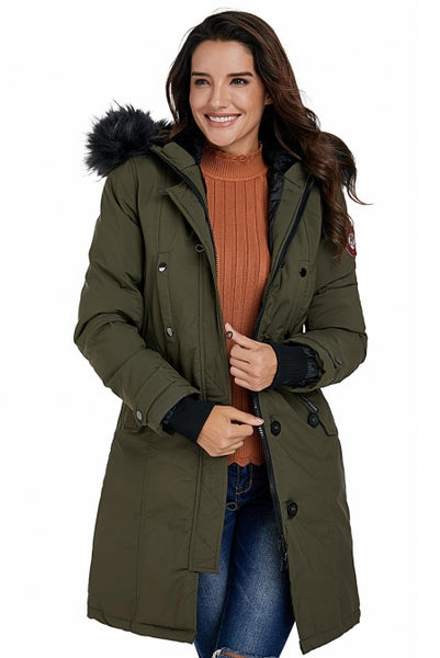 Plus Fur Trim Hooded Parka Coat