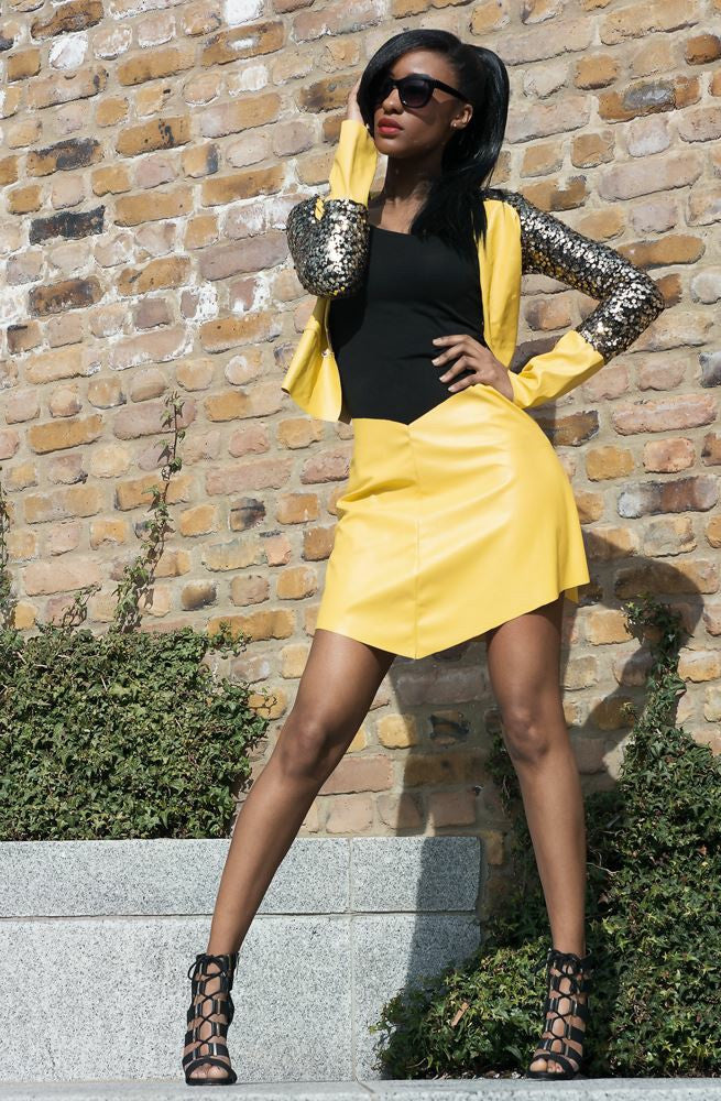 Leather Gold Sequin Jacket & Skirt Set