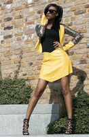 LEATHER GOLD SEQUIN JACKET & SKIRT