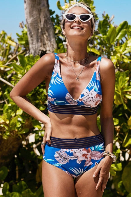 Flower Print High Waist Bikini