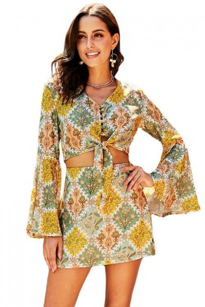 Summer Print Retro Two Piece Set