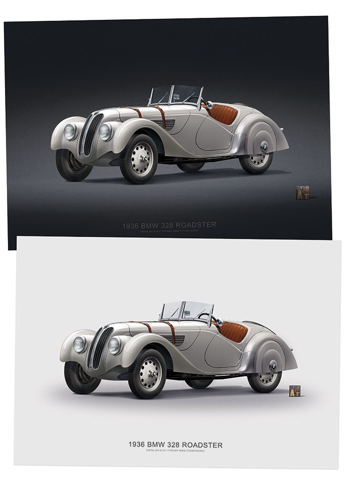 BMW 328 Roadster 1936 / Poster - TYPOART store