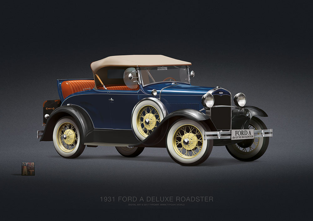 Ford A Deluxe Roadster 1931 / Poster - TYPOART store