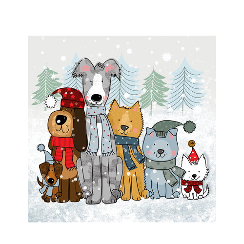 D - 'Christmas Line Up' Christmas cards pack of 10