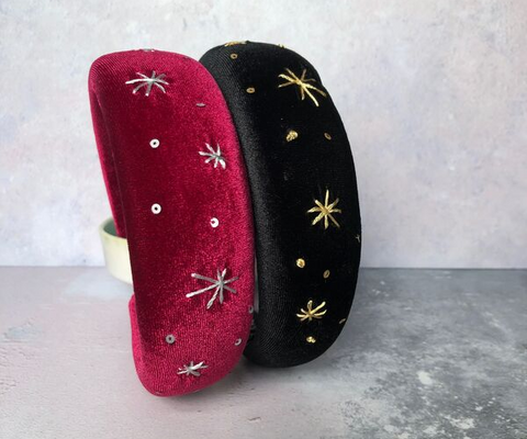 Claire Hill Designs Star Night Velvet Padded Headband