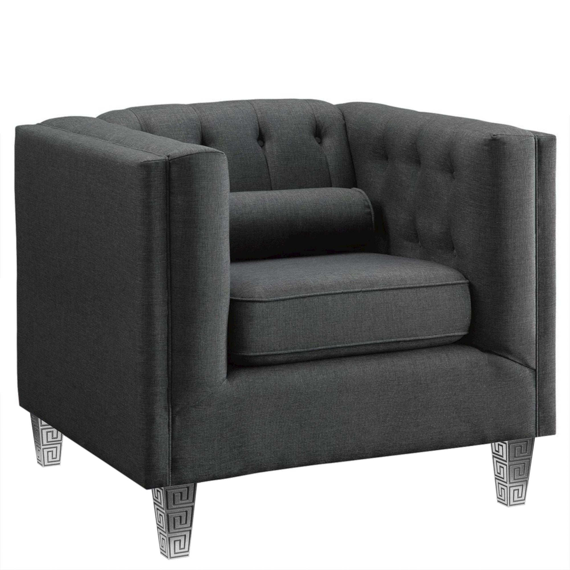 Tufted Gray Cannes Chair