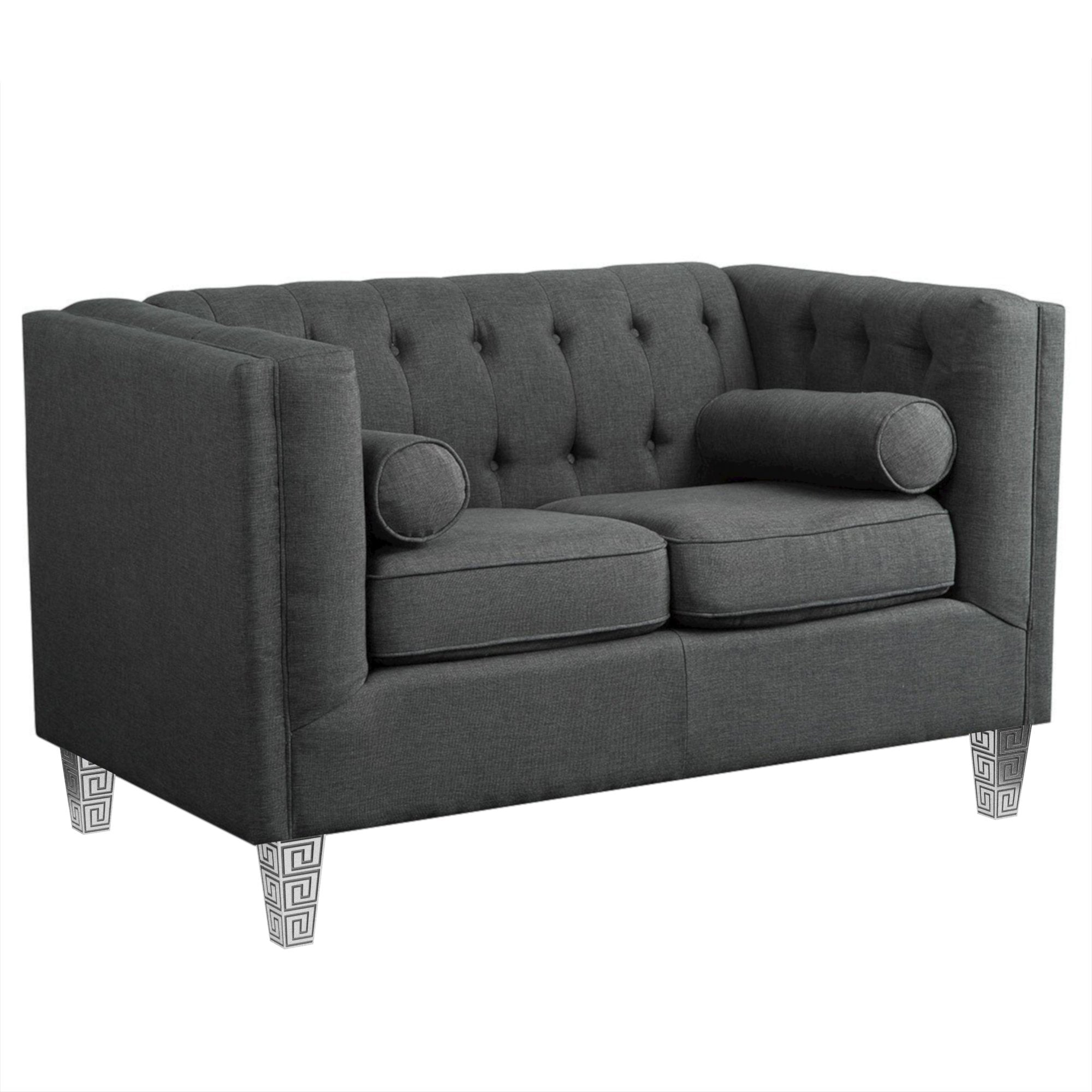 "Tufted Gray Cannes Loveseat (61"")"