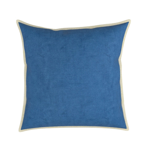 Pillow in Plush Velvet With Linen Flange, Set of 2
