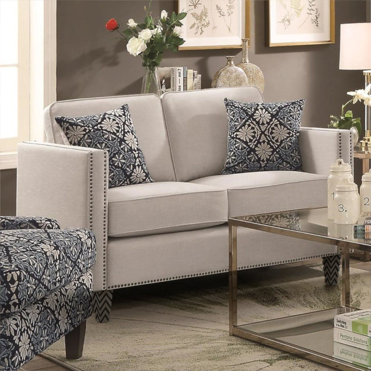 "Colby Loveseat with Nailhead Trim (59"")"