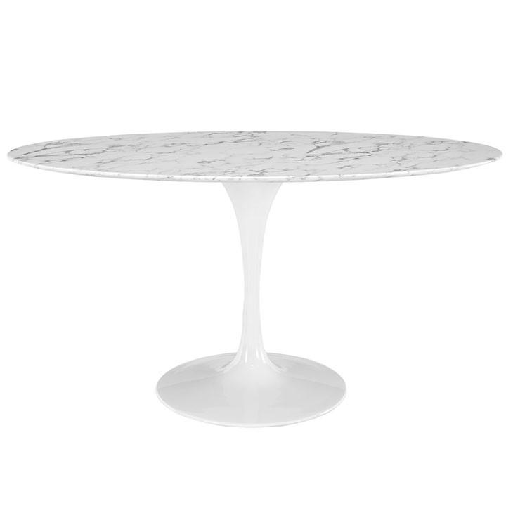 Flume Oval Artificial Marble Dining Table