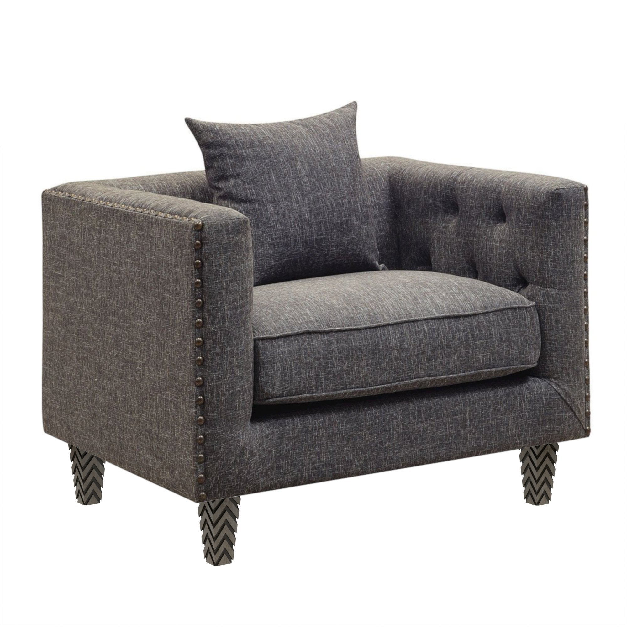 "Elley Gray Tweed Oversized Chair with Pillow (40"")"