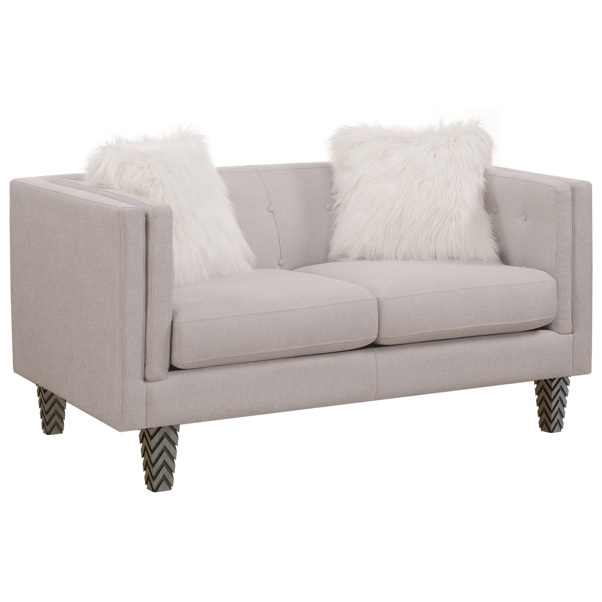 "Heida Light Gray Tufted Loveseat with Faux Fur Pillows (63"")"