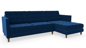 Plush Velvet-Navy / Walnut