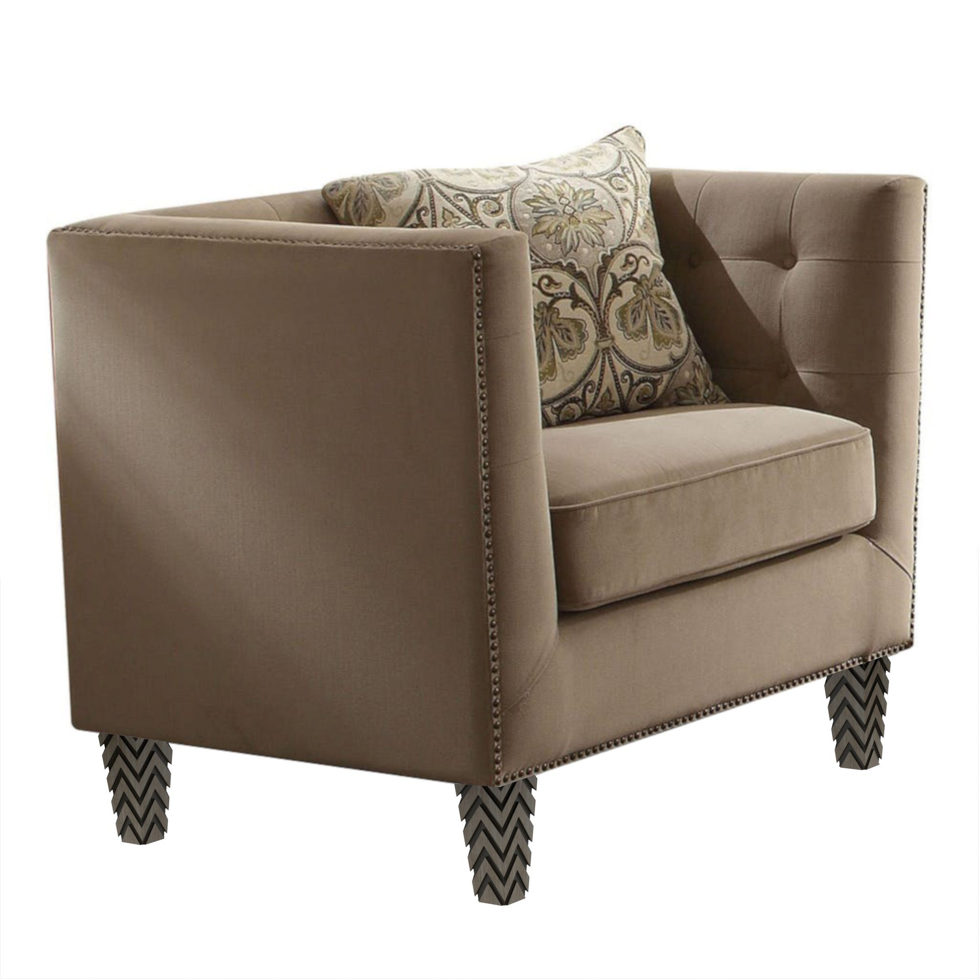 "Tufted Beige Juppa Chair with Nailheads (42"")"