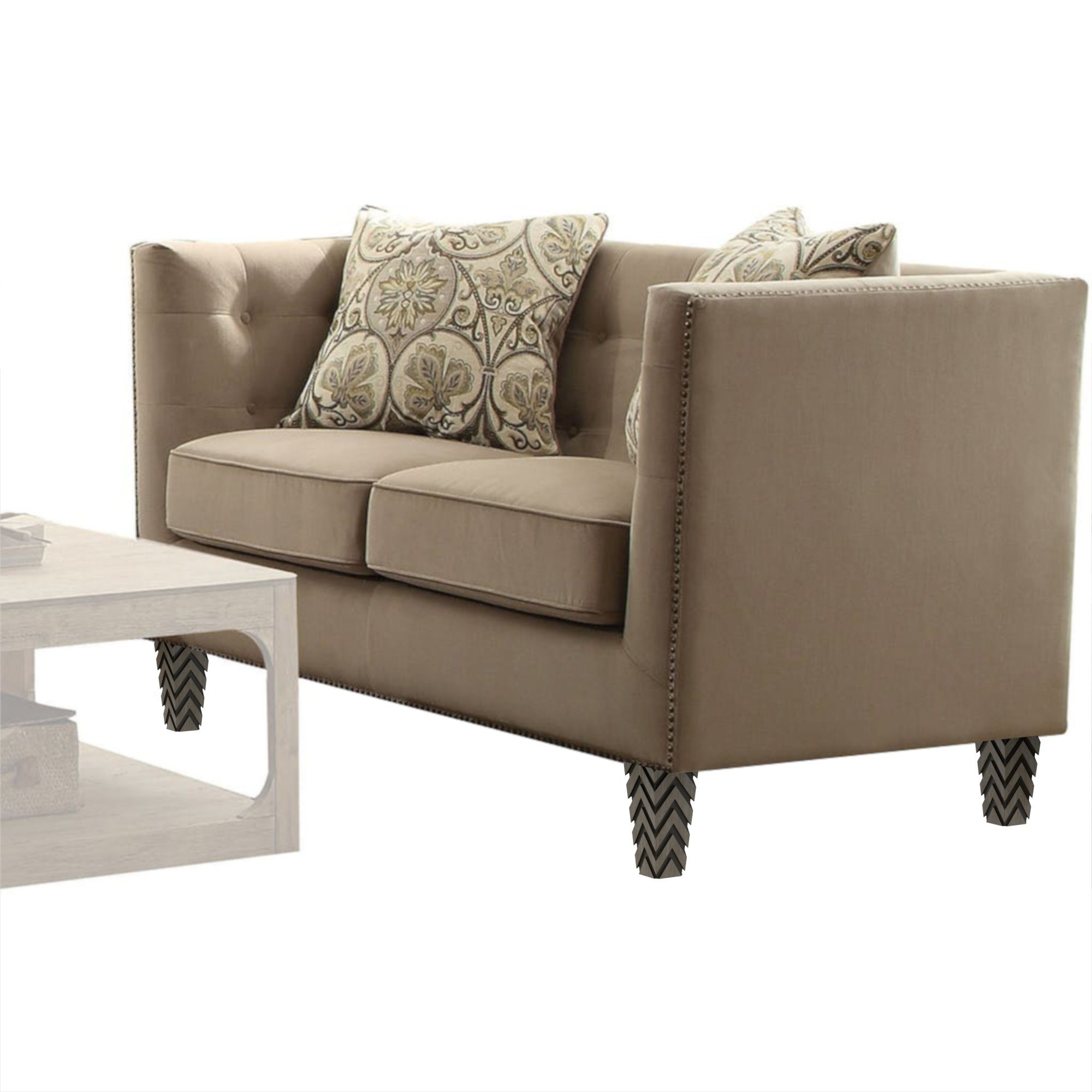 "Tufted Beige Juppa Loveseat with Nailheads (63"")"