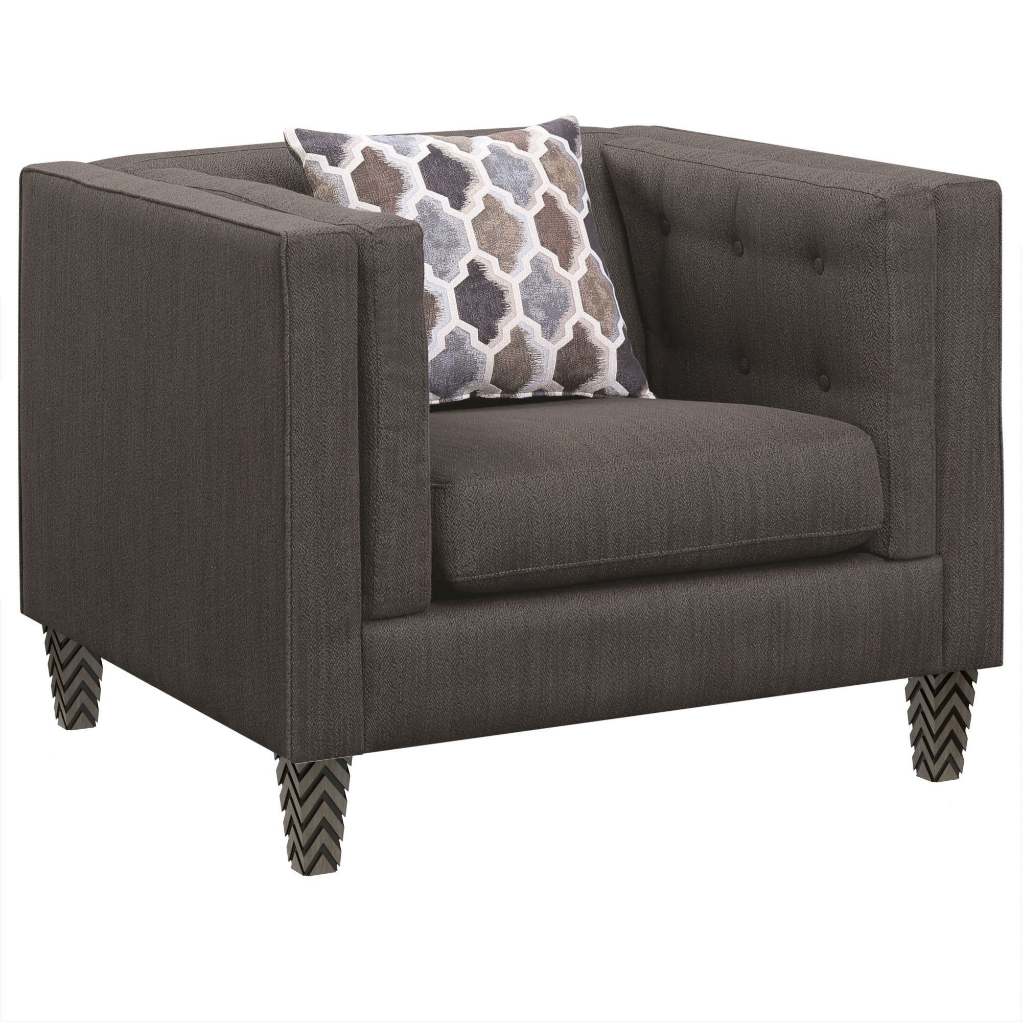 Santi Tufted Gray Chair with Geometric Pillow