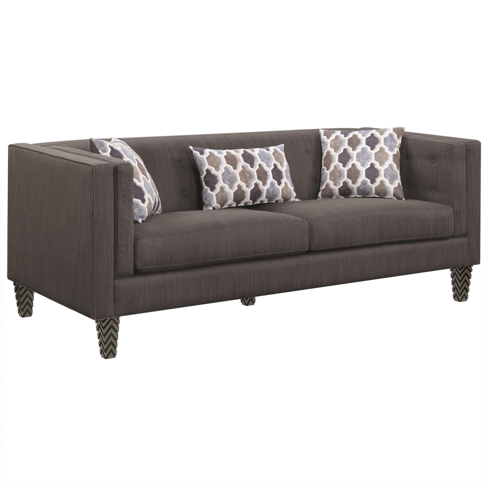 "Santi Tufted Gray Sofa with Geometric Pillows (81"")"