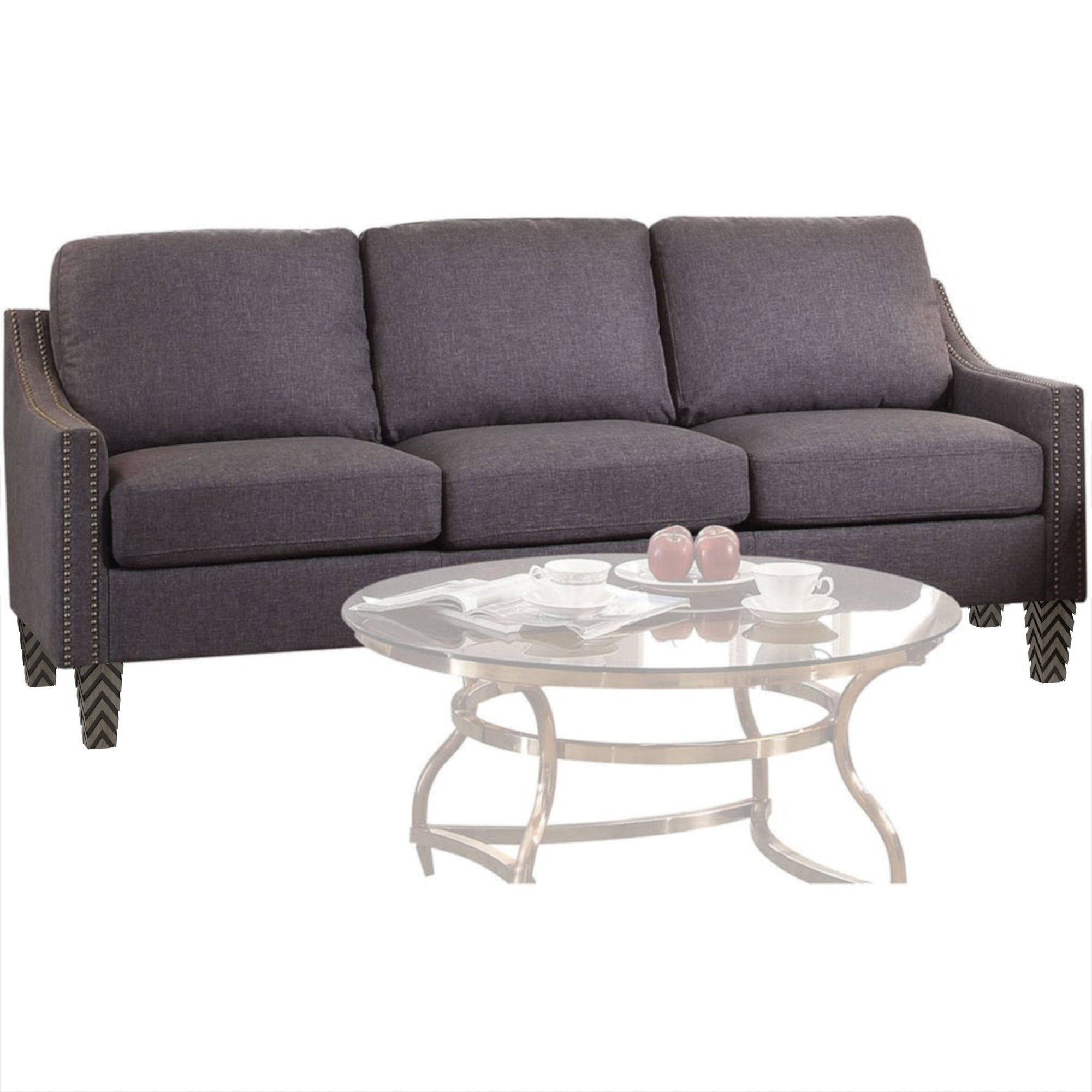 "Gray Zaar Sofa with Nailheads (68"")"