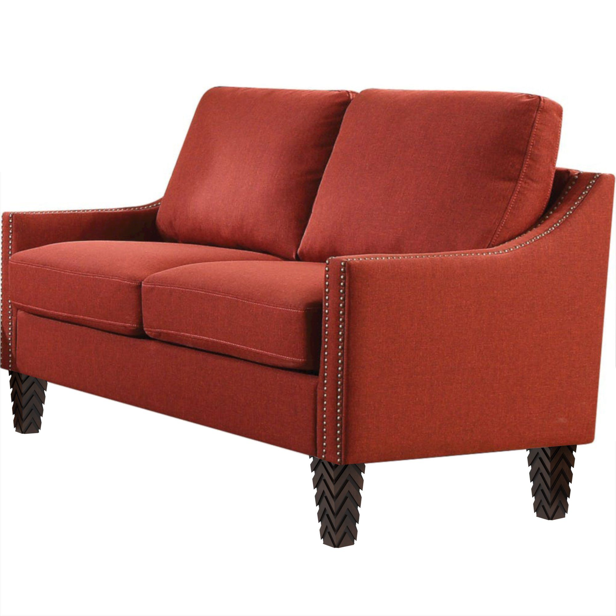 "Red Zaar Loveseat with Nailheads (58"")"