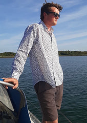 Navy block printed cotton Mens' shirt Henri