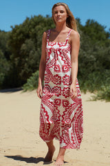 Red block printed cotton dress Ottilie