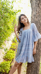 Blue striped cotton summer dress Luella