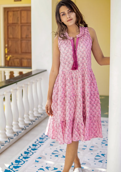 Candice pink cotton block printed ruffle dress - 10% off this week