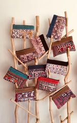 Vintage Indian suede trimmed clutch bags