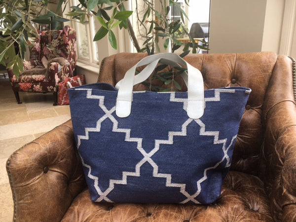Large Dhurrie bag Navy and silver