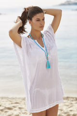 Embroidered, white tassel trim kaftan Luna