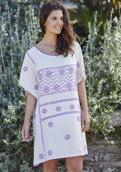 Kaftan embroidered natural khadi Iris - 20% off this week!