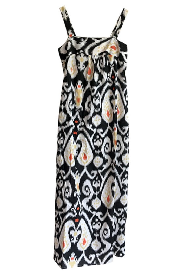 Black block printed cotton dress Lucia
