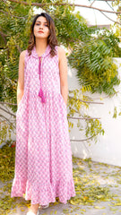 Camille block printed maxi dress