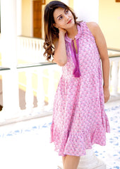 Candice pink cotton block printed ruffle dress