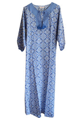 Alicia kaftan long blue cotton printed kaftan