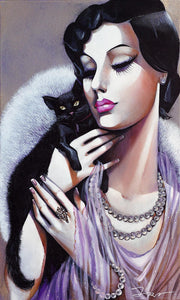 Lady with Black Cat, 100x60