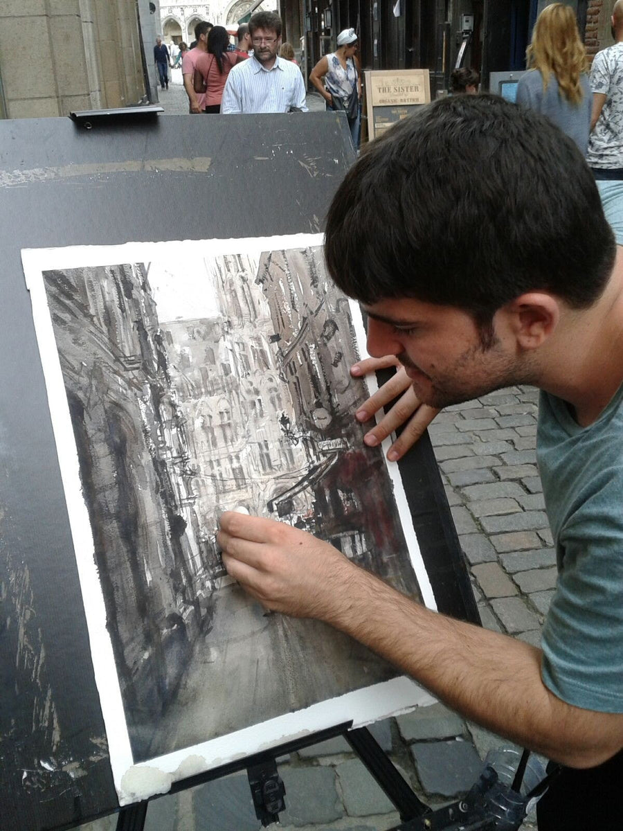 AdrianMarmolejoClarhed Watercolour Coming to Grand Place wydr - digital art gallery