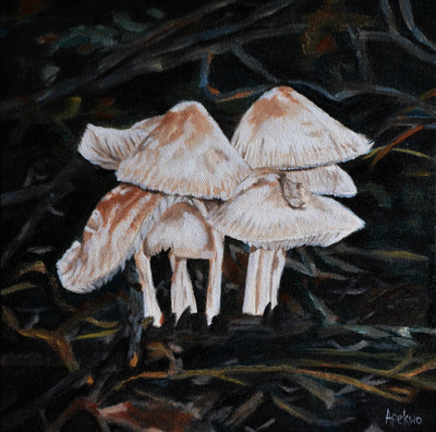 afekwo Oil on canvas Mushroom village wydr - digital art gallery