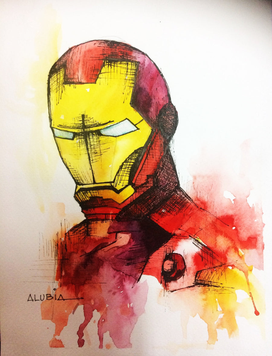Alubia Watercolor Ironman wydr - digital art gallery