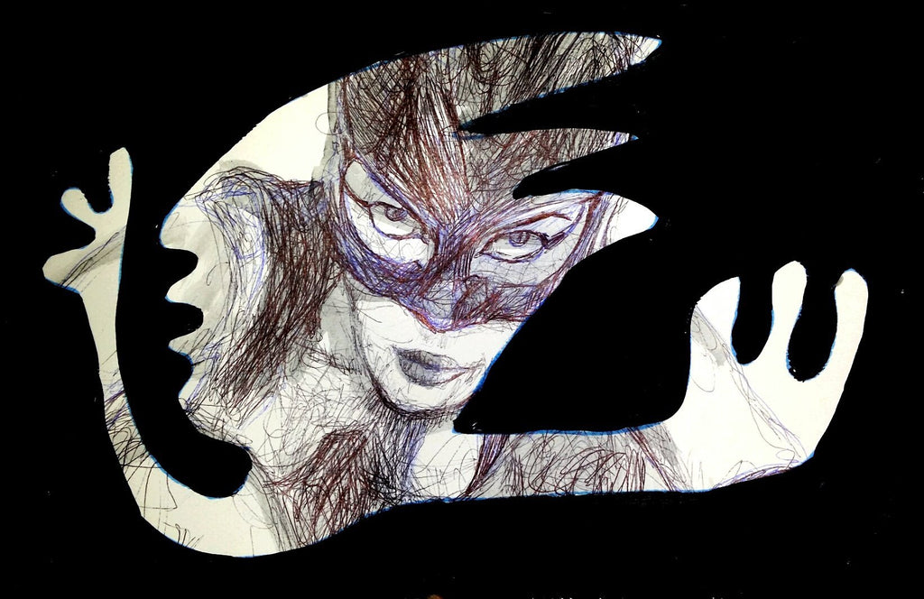 April-Louise Turner Ink Acrylic Catwoman SHAMAN wydr - digital art gallery